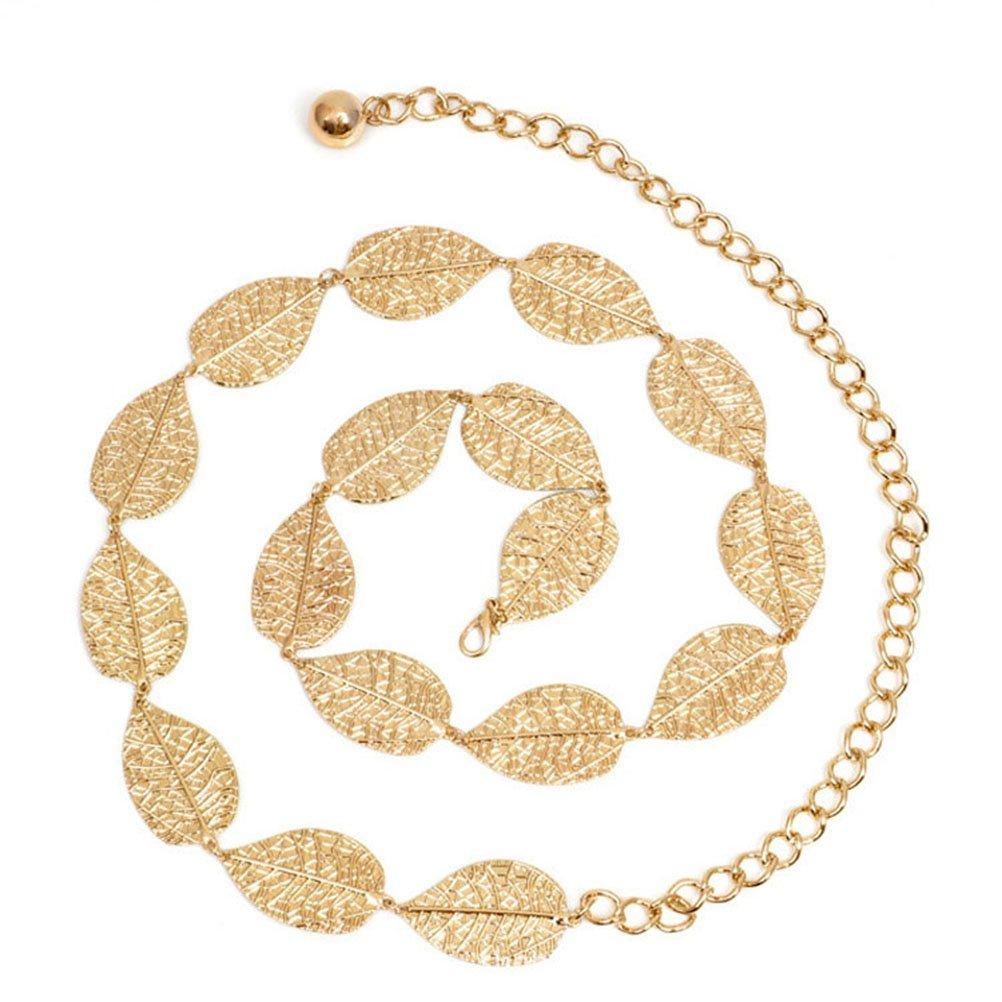 LUOEM Leaf Kette Metall Blätter Taille Kettengürtel Kleid Dekoration (Gold)