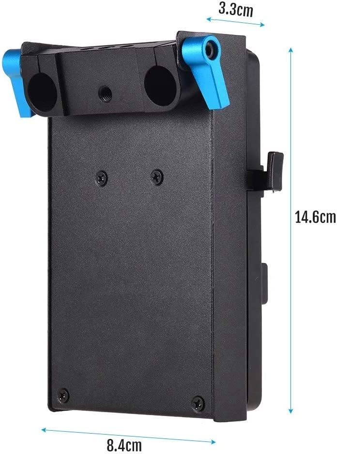SODIAL V Mount V-Lock Battery Plate with 15mm Dual Hole Rod Clamp NP-FZ100 Dummy Battery for BMCC BMPCC A7III A9 A7RIII A7RIV Digital Camera