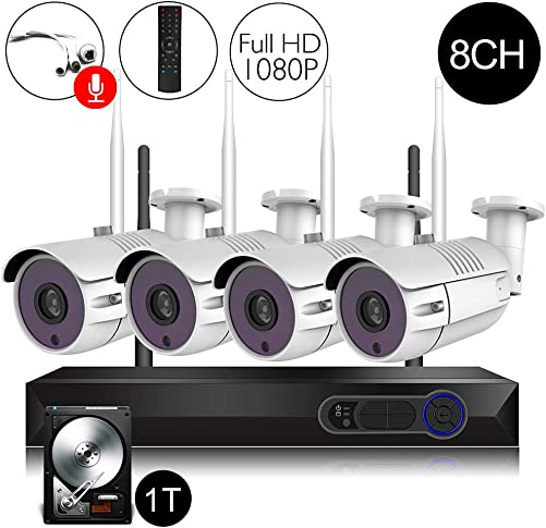 CAMVIEW Wireless Security Home Surveillance System 8CH 1080P WiFi NVR Kits 4Pcs 2.0MP Wireless IP CCTV Cameras, 1TB HDD Pre-Installed
