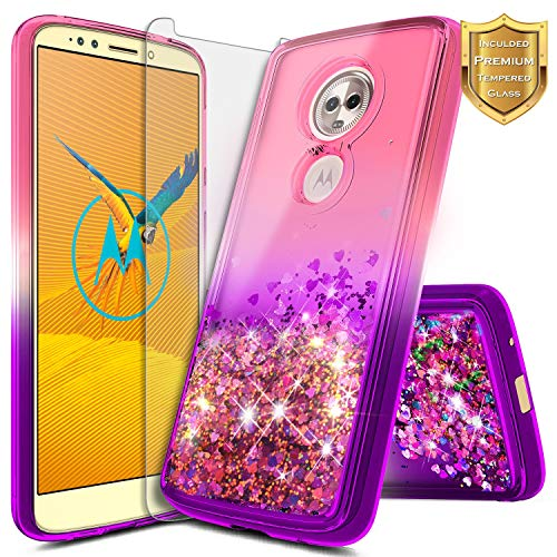 [해외]모토로라 모토 E5 케이스 (XT1920DL) NageBee 반짝이 액체 퀵 샌드 폭포 케이스 w[강화 유리 화면 보호기] (트레이 폰 심플 모바일 스트레이트 톡 총 무선) 핑크퍼플 / Motorola Moto E5 Case (XT1920DL) NageBee Glitter Liquid Quicksand Waterfal...