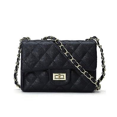 072f797d7e15dd Jollque Classic Flap Caviar Leather Gold Hardware Crossbody Shoulder Bag ( Black (Small))