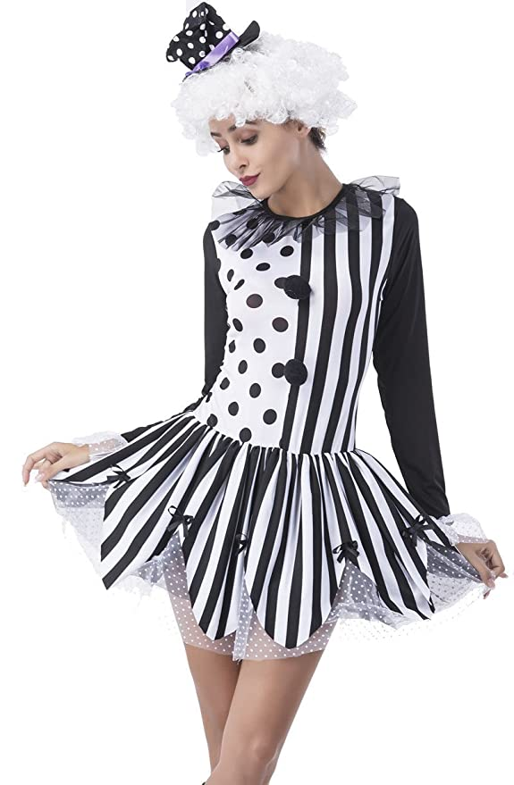 Roaring 20s Costumes- Flapper Costumes, Gangster Costumes Adult Womens Clown Costume Killer Clown Tutu Dress and Hat Halloween Tights Costume $36.99 AT vintagedancer.com