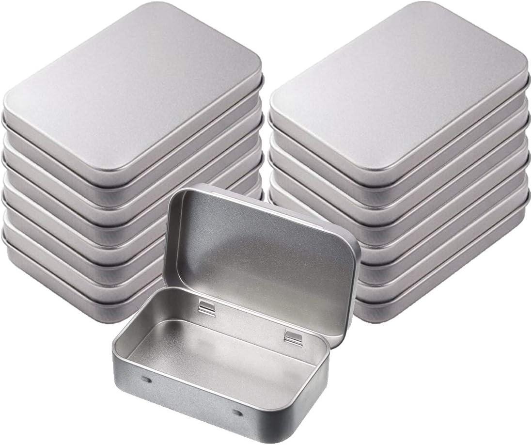 INTVN Caja de Metal, Latas de Bisagra Rectangular Contenedor pequeña Caja de Lata para Manualidades Joyas Clave, 8 Piezas