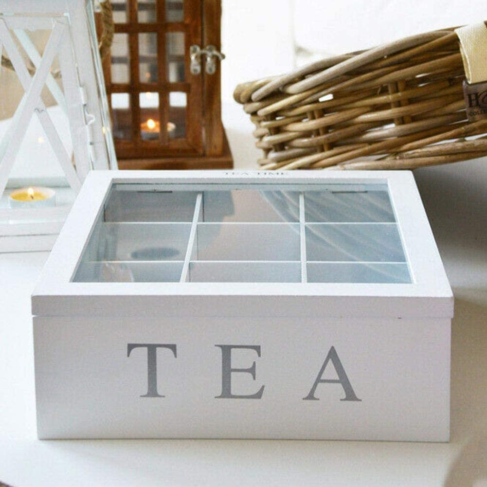 Packets 9 Divided Sections Tea Bag Storage Chest with Acrylic Transparent Hinged Lid By HTB Bamboo Tea Storage Organizer Box Decorative Holder for Tea Bags
