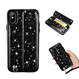 Premium Leather Wallet Back Case for iPhone Xs,Gostyle iPhone Xs Fashion Slim Bling Glitter Black Case with Hidden Card Holder and Detachable Strap,Shockproof Bumper Protective Cover