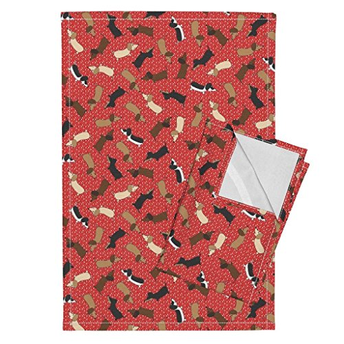 Dachshund Dog Puppy Doxie Hound Wiener Dog Animal Tea Towels Dancing Dachshunds (Red) by Robyriker Set of 2 Linen Cotton Tea Towels by Roostery