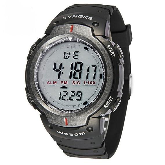 Para hombre gran número de pantalla digital LED de diseño simple reloj Casual impermeable deportes al aire libre relojes negro + gris: Amazon.es: Relojes