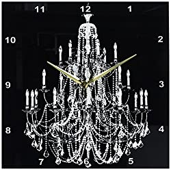 3dRose DPP_164675_2 Chic White Chandelier with Black Damask Wall Clock, 13 by 13-Inch