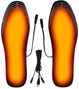 Heated Insoles for Men or Women, Feet Warmer Electric Heated Insoles USB Rechargeable for Fishing/Hunting/Shoveling Snow Washable Free Cut (Size 8-12/41-45)