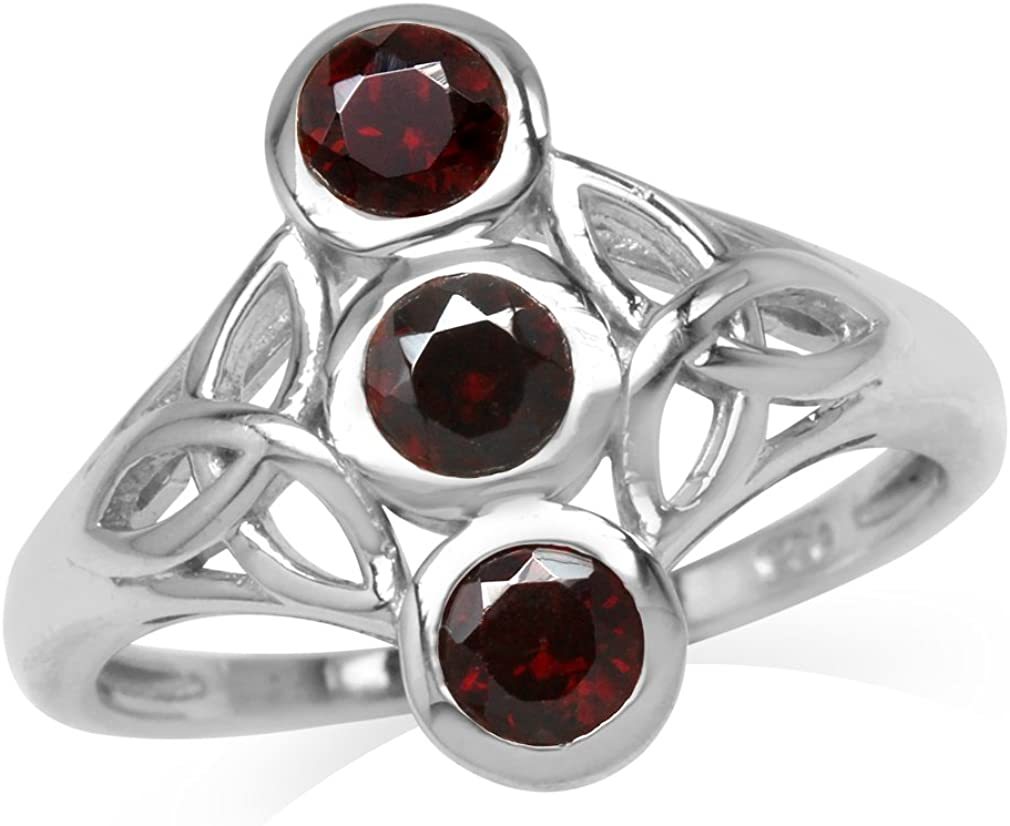 Silvershake 2.89ct Natural Garnet 925 Sterling Silver Cluster Cocktail Open Front Ring