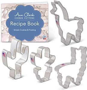 Ann Clark Cookie Cutters 4-Piece Llama and Cactus Cookie Cutter Set with Recipe Booklet