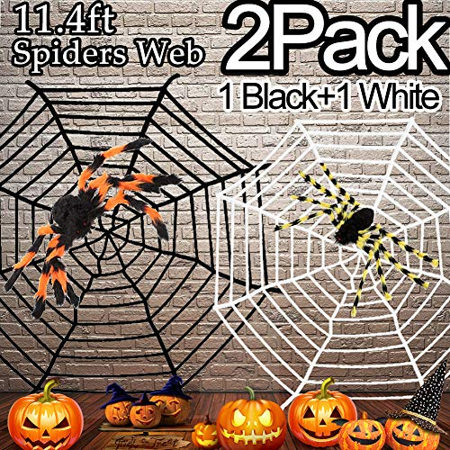2 Pack 11.4ft Halloween Spiders Web Decoration, Halloween Party Supplies Black + White Fake Stretch Spiders Web Best Halloween Decorations for Indoor Outdoor Yard Halloween Theme Costume -