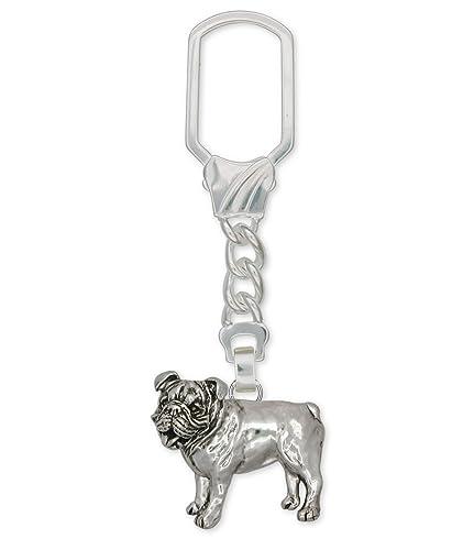 BullDog joyas plata de ley Bulldog llavero hecho a mano ...