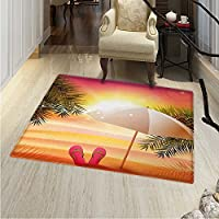 Orange Print Area Rug Sunset at The Beach Flip Flops Umbrella Palm Trees Illustration Perfect Any Room, Floor Carpet 4x6 Orange Yellow