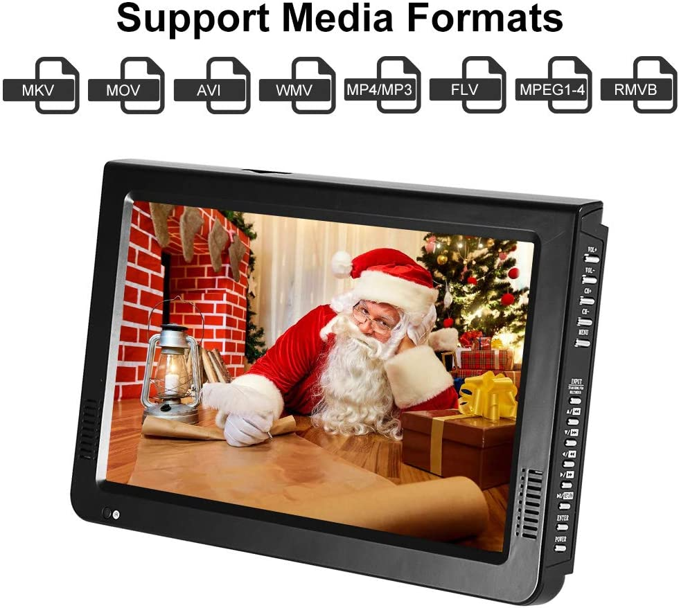 """Acogedor 10"""" Portable HDMI Small TV,ATSC Car TV Digital Television,1080P HD Video Player with USB/TF Card Slot, Bracket,Built-in Rechargeable Battery"""