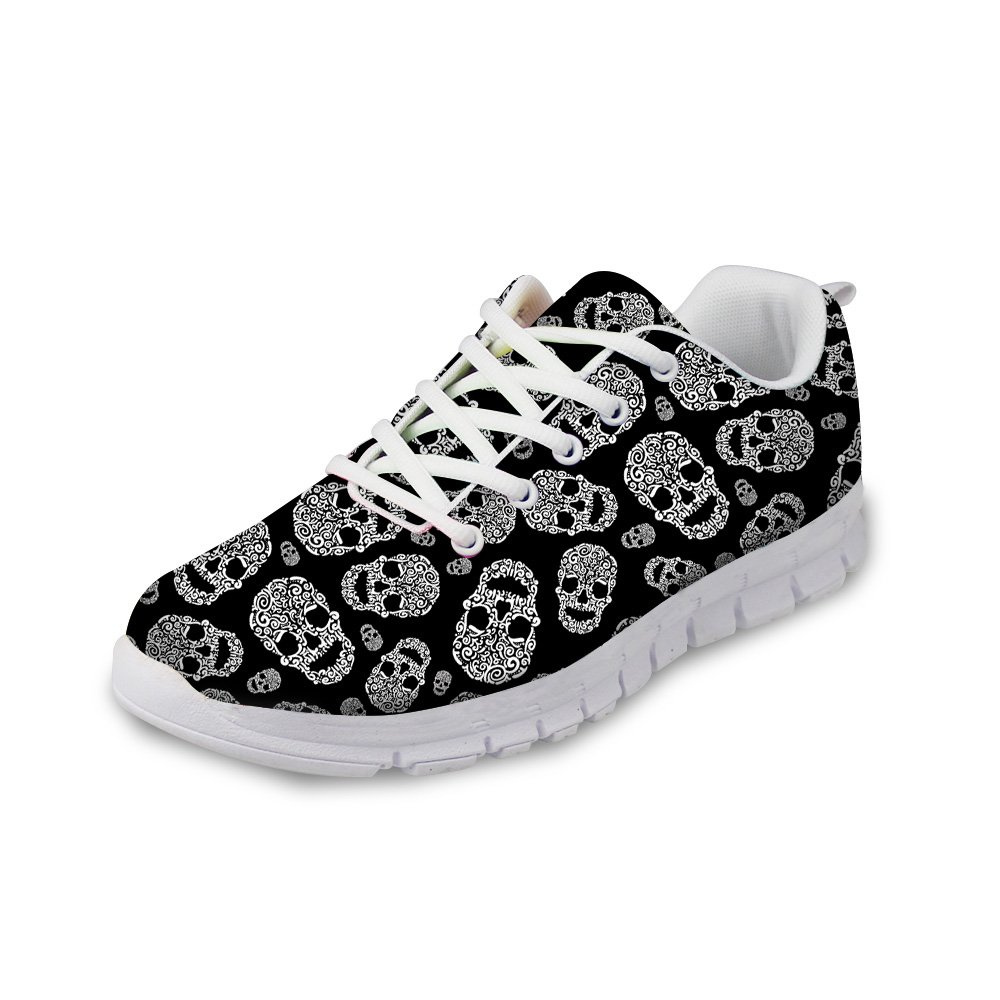 Upetstory Cool Skull Design Womens Lightweight Casual Walking Sports Shoes Breathable Mesh Work Sneakers