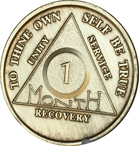 (1 Month Bronze AA (Alcoholics Anonymous) - Sober / Sobriety / Birthday / Anniversary / Recovery / Medallion / Coin / Chip)