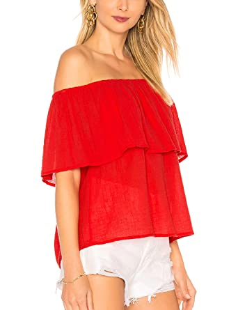ab00d3d6944 ALLY-MAGIC Women's Summer Off Shoulder Ruffles Solid Casual Blouse Loose  Crop Tops Short Sleeves Sexy Shirt at Amazon Women's Clothing store: