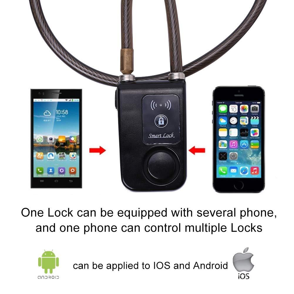 Serrure Intelligente Bluetooth 80cm Etanche Anti Vol Alarme 110dB D/éloquetage Verrouillage Automatique Via T/él/éphone APP pour Smartphones IOS Android pour V/élos Motos Portes