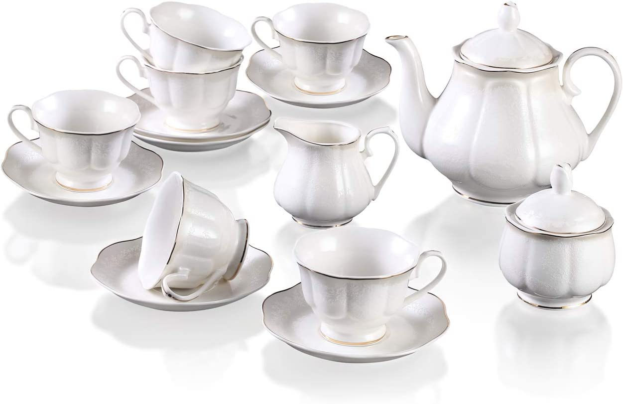 Guangyang 15 Pieces White China Teaset(Embossed Flower Design),Porcelain Coffee Service set,Pumpkin TeaPot set with 6 Cups 6 Saucers 1 Sugar Bowl 1 Milk Creamer