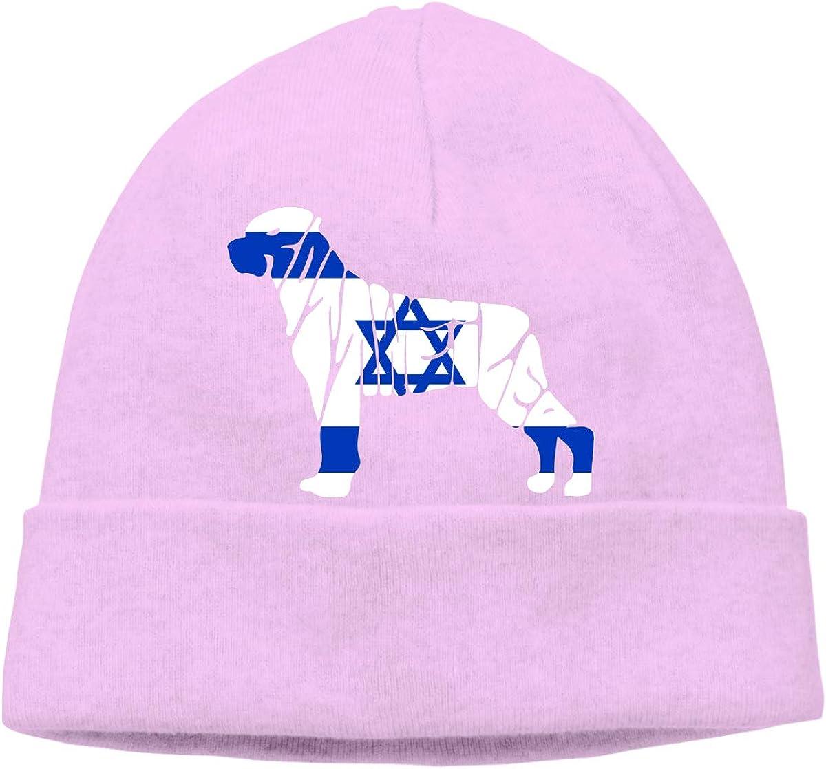 BF5Y3z/&MA Israel Flag Rottweiler Dog Beanie Hat for Men Women,Soft Hedging Cap Skull Cap