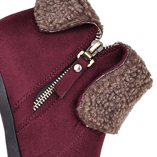 AgooLar Women's Round Closed Toe High-Heels Frosted Low-Top Solid Boots Claret GQS3STY