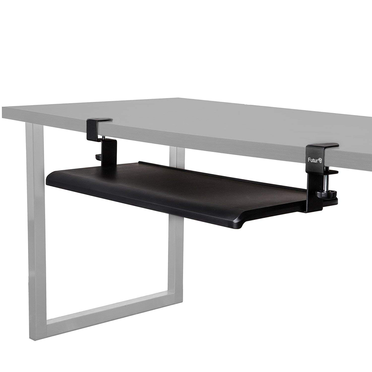 Futur3 Office Sliding Under-Desk Keyboard Tray- Extra Wide Surface- 5 Minutes Easy Installation Clamp On Keyboard and Mouse Drawer- Perfect for Office, Home, School- Ergonomic and Comfortable Design