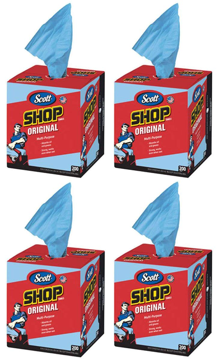 Scott Kimberly-Clark 75190 ショップタオル 10インチ x 12インチ ブルー 4 Box of 200 Towels   B07NL7NV4C