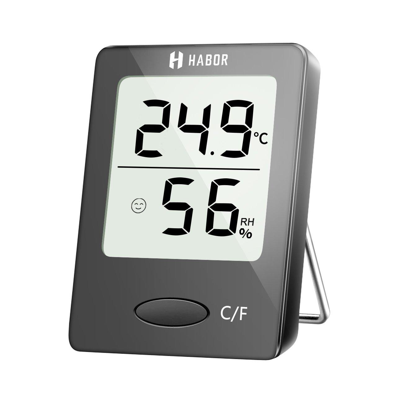 Thermo-Hygrometer, Habor Digitales, Tragbares Innen Thermometer, Temperatur-Feuchte mit hohen Genauigkeit, Komfortanzeige, Tisch Stehen, Wandbehang, Magneten Attaching, Thermometer und Hygrometer für Babyraum, Wohnzimmer, Büro, usw. Büro
