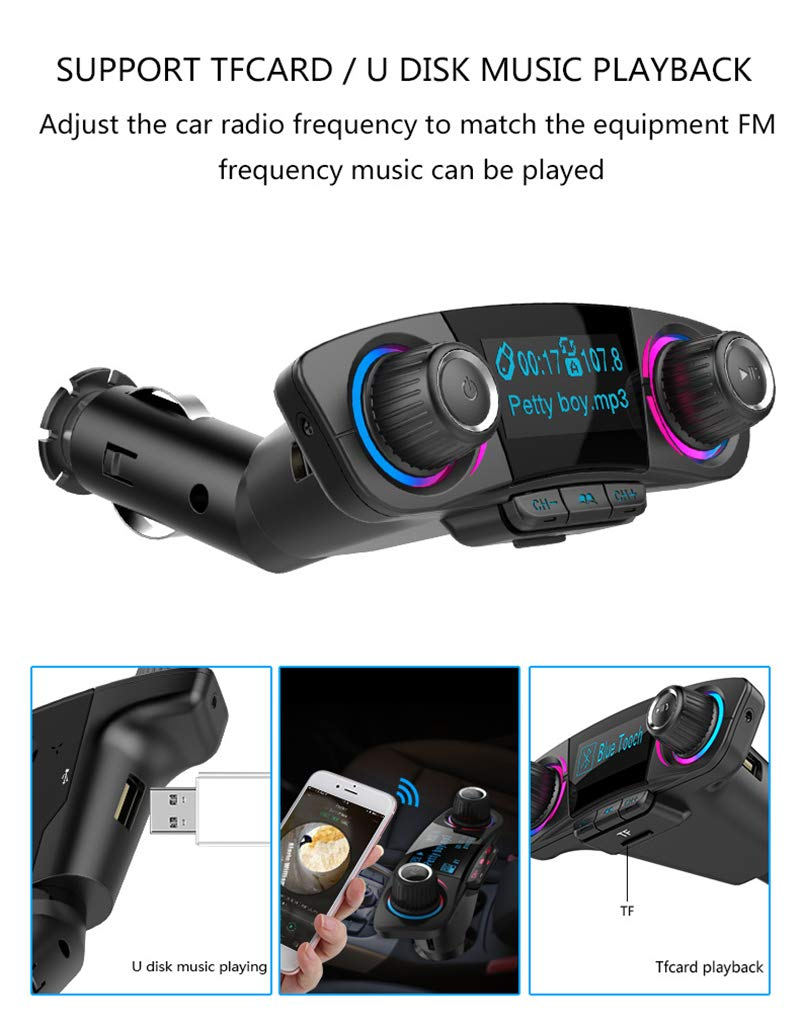 BT06 FM Transmitter 2.1A Fast Car Charger Aux Modulator Bluetooth Handsfree Car Kit Audio MP3 Player with Smart Charge Dual USB by Generic