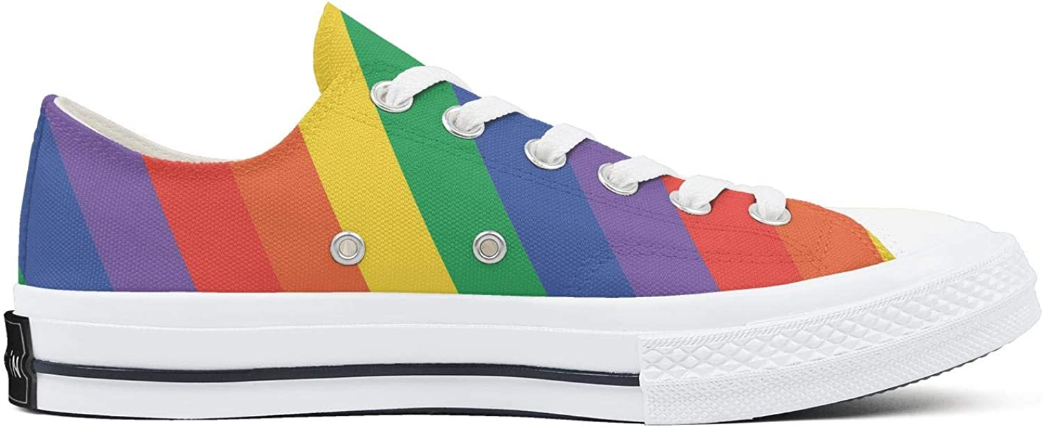 Hjdfene Woman Rainbow Curved Color Lines Gay Canvas Shoes Low-Cut StrapsClassic Funky Sneakers Suitable for Walking