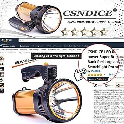 CSNDICE LED Rechargeable Handheld Searchlight High-power Super Bright 9000 MA 6000 LUMENS CREE Tactical Spotlight Torch Lantern Flashlight