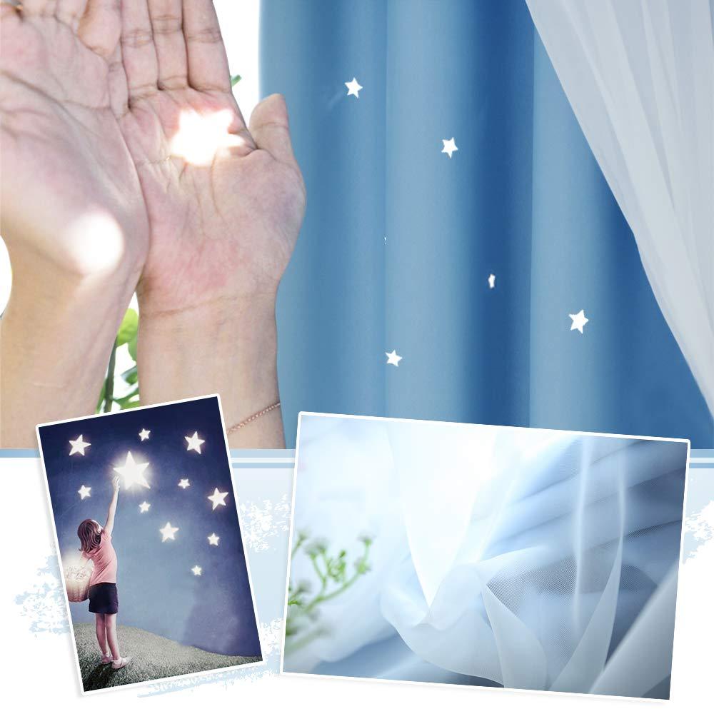 Hohle Sterne Vorhang /& Voile Gardinen f/ür Kinderzimmer Dekoschals NICETOWN 2er Set Kindervorh/änge Junge /Ösenschal H 213 x B 132 cm Himmelblau