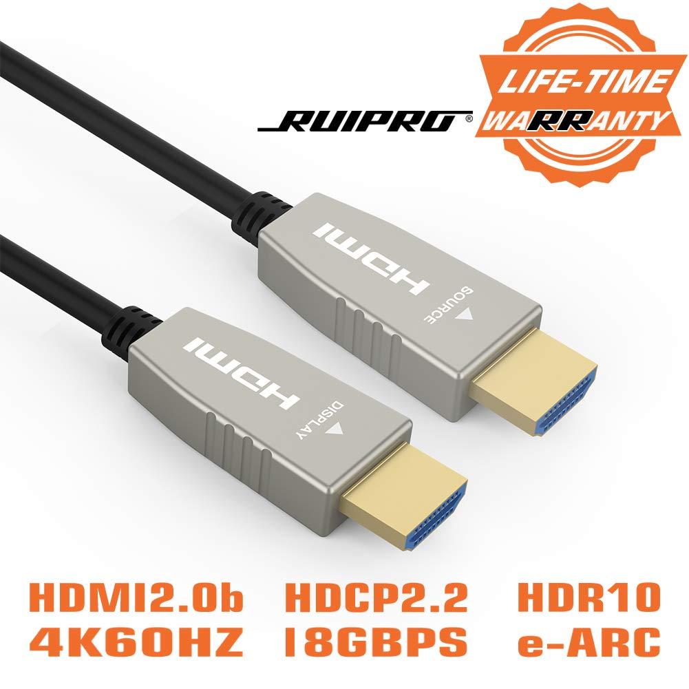 Cable HDMI de fibra RUIPRO 4K60HZ HDR 50 pies Cable de velocidad de luz HDMI2.0b, admite 18.2 Gbps, ARC, HDR10, Dolby Vi