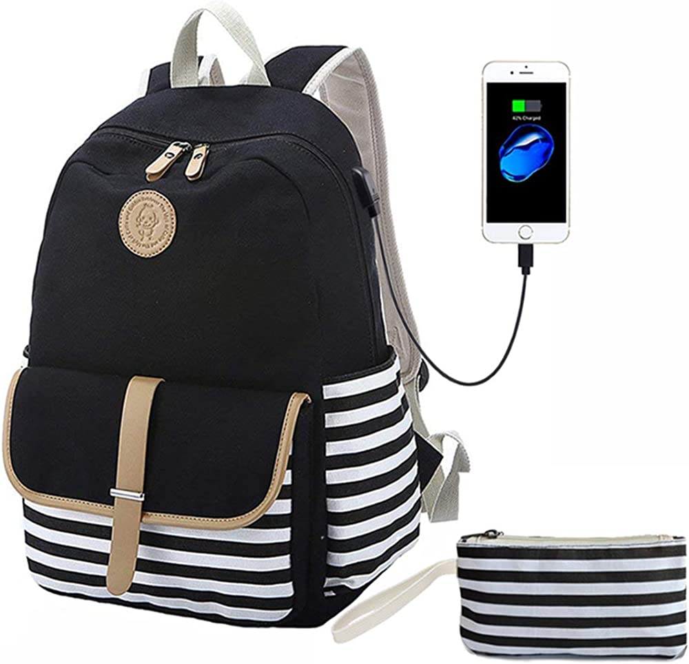 "Lmeison Canvas Backpack with USB Charging Port Clutch Purse Fit 15.6"" Laptop"