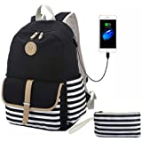 """Lmeison Canvas Backpack with USB Charging Port Clutch Purse Fit 15.6"""" Laptop"""