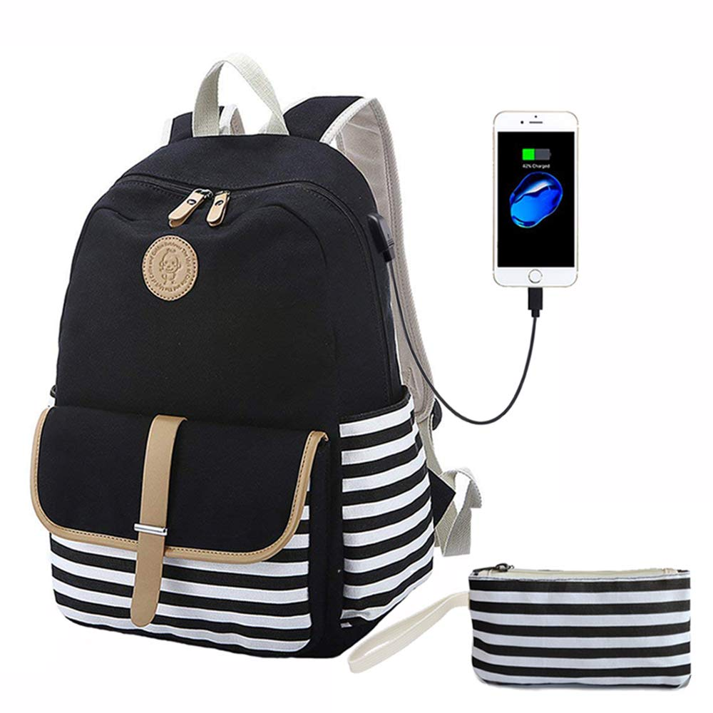 Canvas Backpack, Black Striped Bookbags with USB Charging Port with Clutch Purse, School Backpack for Teens Girls Computer Backpack Fit 14'' Laptop Travel Canvas Rucksack by Lmeison