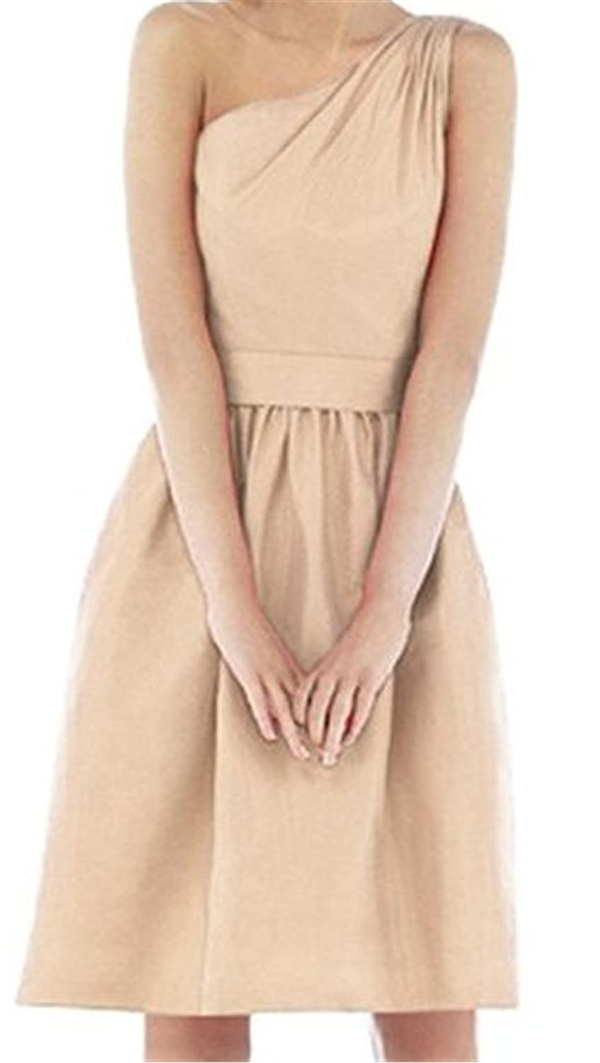 Endofjune Simple Single Shoulder Chiffon Skirt Homecoming Dance Dress US-12 Apricot
