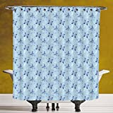Unique Shower Curtain 3.0 [Butterfly,Blue Color with Dragonflies Floral Arrangement Swirls Curves Spring Decorative,Blue Pale Blue White] Polyester Fabric Bathroom Shower Curtain