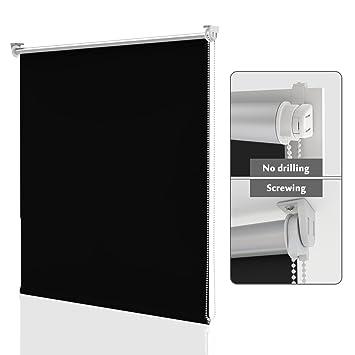 Homedemo Store Enrouleur Occultant Isolant Thermique Opaque Noir 50 X 170 Cm Rideau Occultant Fixation Avec Ou Sans Perçage