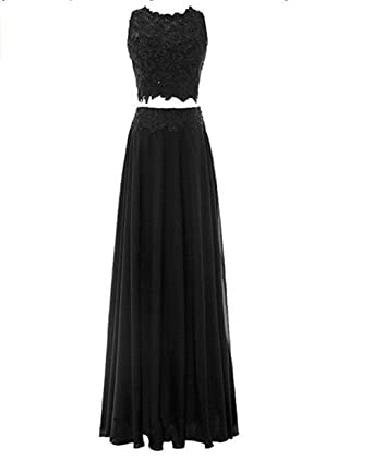 Leader of the Beauty Womens Two Piece Lace Long Prom Dress Bridesmaid Dress Black ...