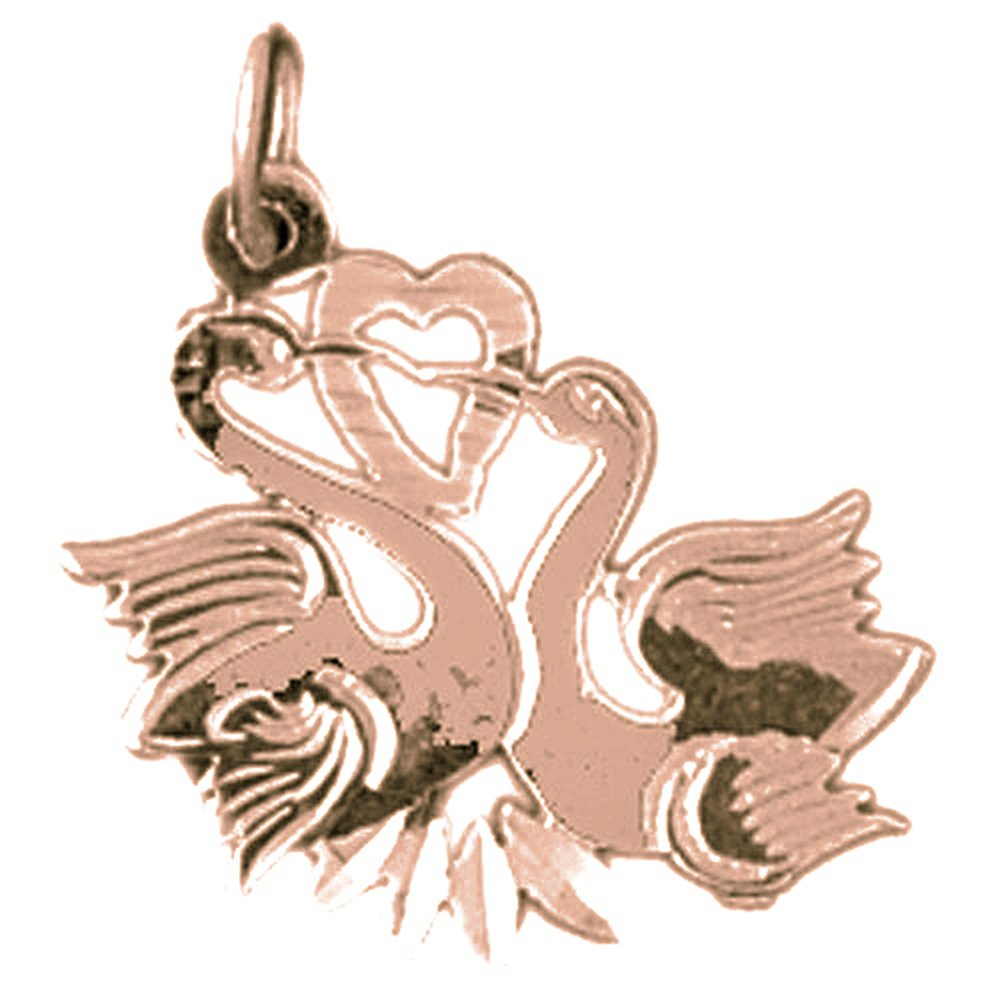 14K Rose Gold-plated 925 Silver Swan Pendant with 18 Necklace Jewels Obsession Swan Necklace