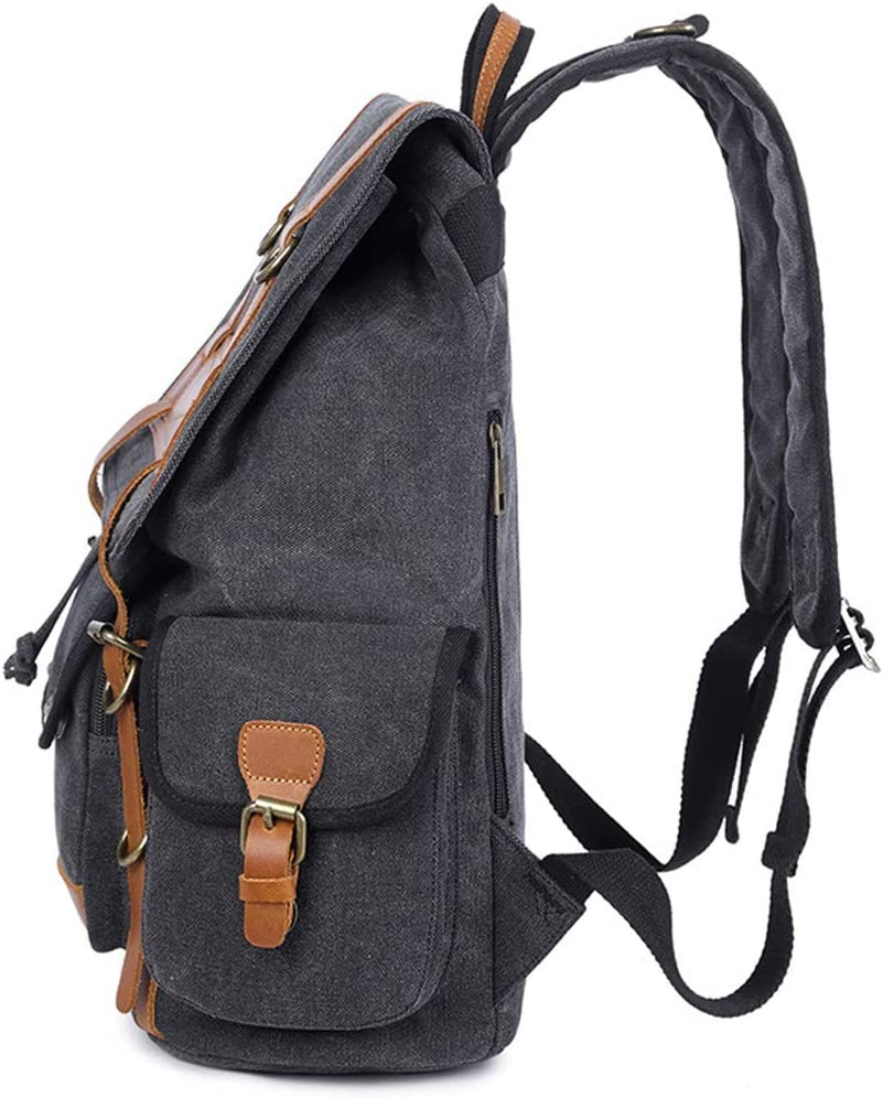 Vintage 15 Inch Laptop Backpack Canvas Mens Backpack Leisure Rucksack Travel Large School Bag Bagpack Men Travel Bag Light Grey