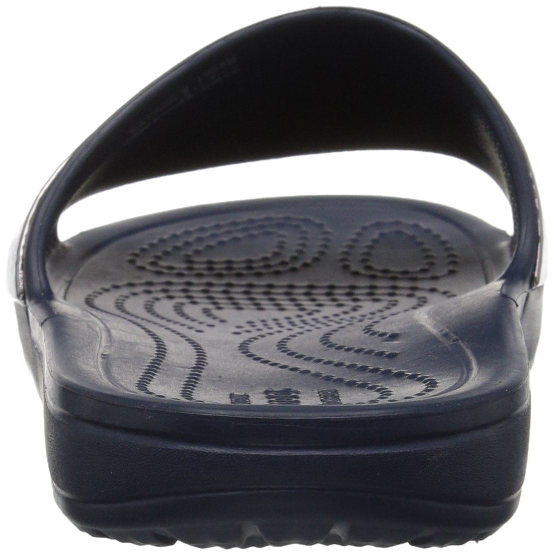 Crocs Women's Sloane Hammered Metallic Slide B0787PGBSV 4 M US|Navy/Navy