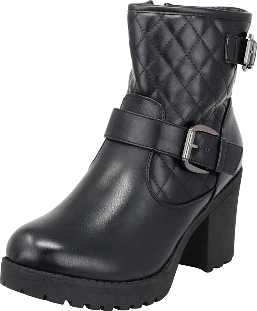 Black Pu Cambridge Select Women's Quilted Moto Chunky Lug Sole Platform Block Heel Ankle Bootie