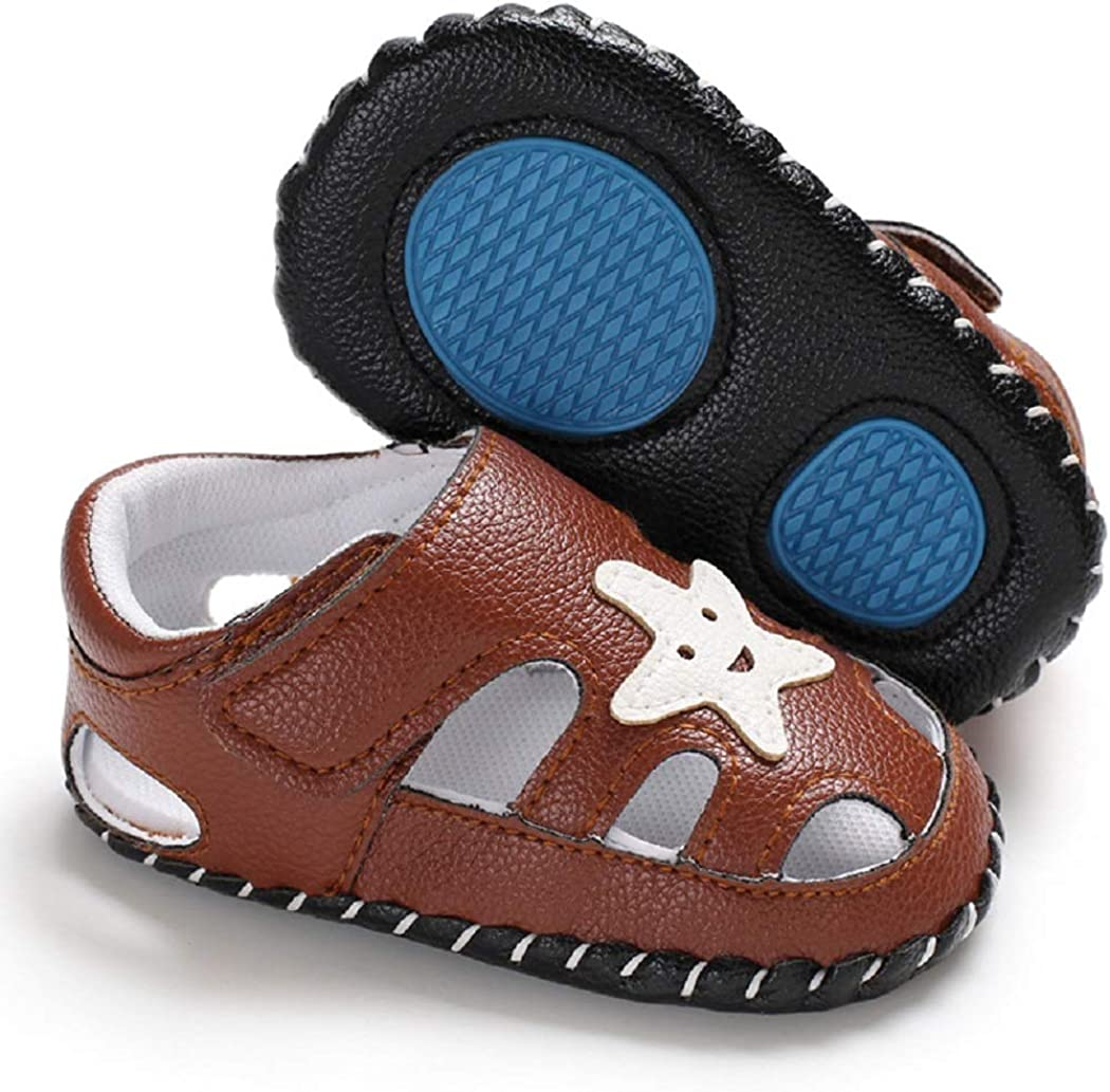 Tcesud Newborn Baby Boys Girls Summer Sandals Breathable Closed-Toe Infant Toddler Crib Summer Sandals Outdoor Shoes