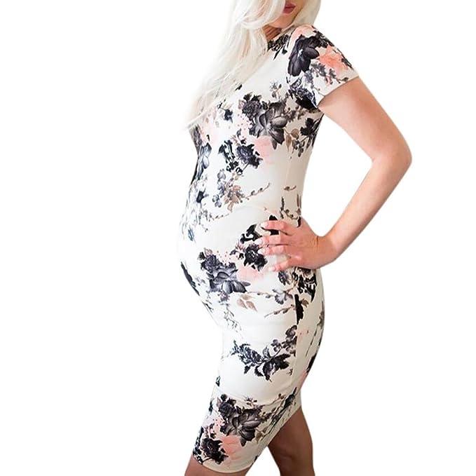 Vestidos BBsmile Madre casual para mujer Floral Embarazadas Vestido para ropa de maternidad (Blanco,