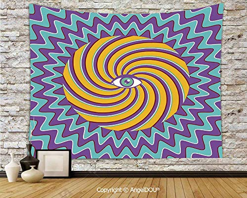 AngelDOU Vintage Decor Dorm Decor Wall Hanging Tapestry Third Eye Symbol Inside Hypnotic Spiral Circles Trippy Lines Mystic Hippie Boho for Living Room Bedroom.W78.7xL59(inch) ()