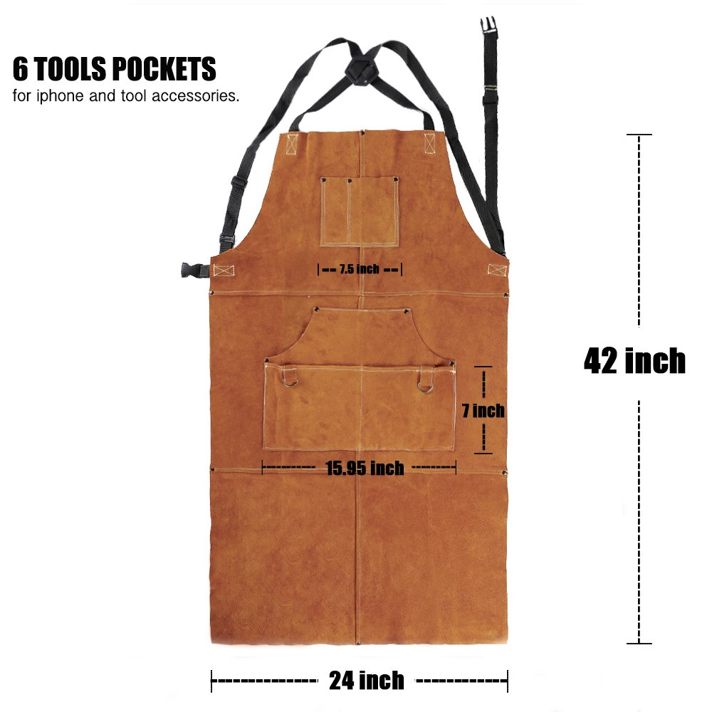QeeLink Leather Welding Apron - Heat & Flame-Resistant Heavy Duty Work Apron with 6 Pockets, 42'' Extra Large & Cross Back Extra Long Strap, Adjustable M to XXXL Aprons for Men & Women (Brown) by QeeLink (Image #3)