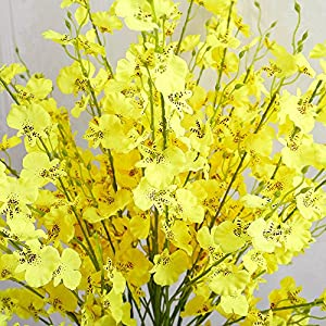 YILIYAJIA Artificial Flowers Bouquets Fake Bridal Silk Butterfly Dancing Lady Orchid Flowers,Oncidium Floral for Wedding Home Office Decoration(8 pcs) (Light Yellow) 4